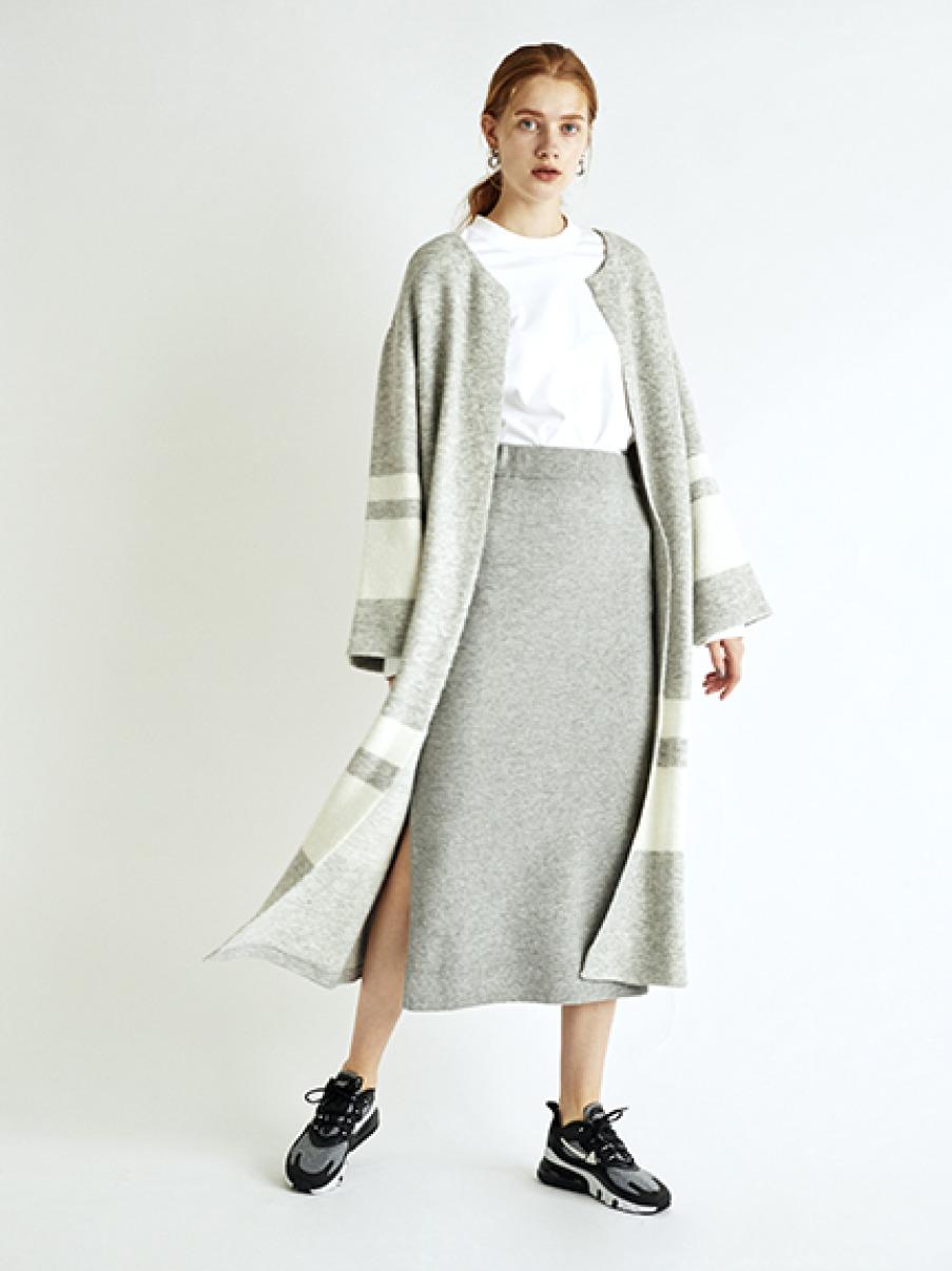 【emmi atelier】タスマニアウールニットスカート(LGRY-0)